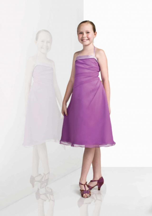 wedding photo - Halter Purple Chiffon Ruched Sleeveless Knee Length