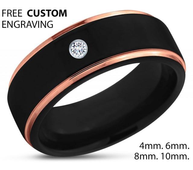 Black Tungsten Ring 18k Rose Gold Black Band Polished Wedding Bands White Diamond Mens