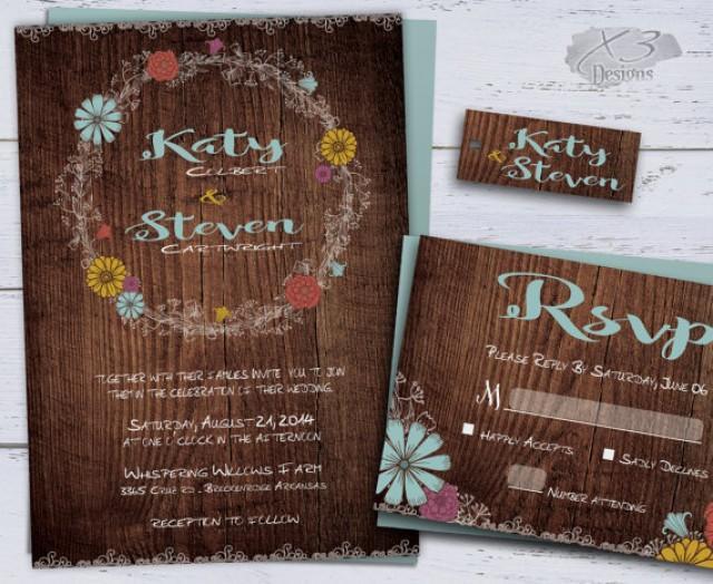 wedding photo - Rustic Wedding Invitation, Printable Wedding Invitations, Summer Country Wedding Invite, Backyard Floral Wedding Invitation & RSVP Lace