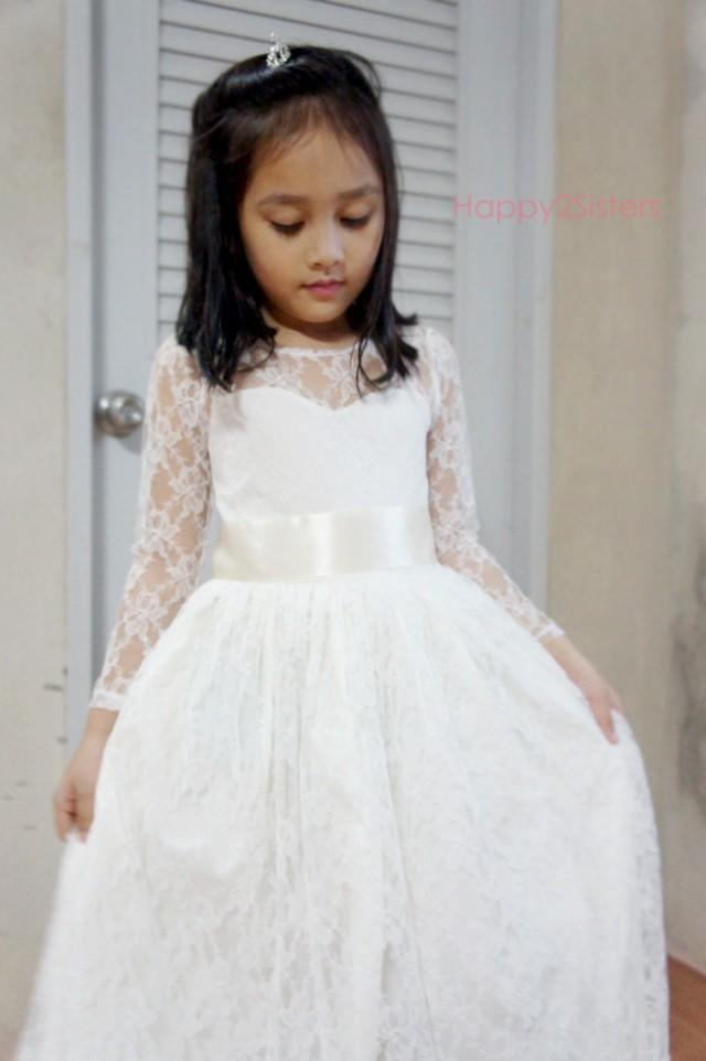Ivory flower girl dress rustic flower girl dress beach for Flower girl dress for beach wedding