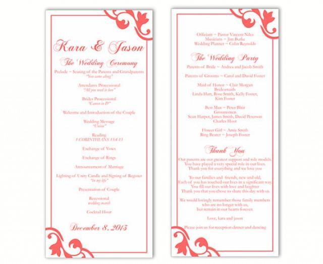 Wedding program template diy editable text word file download program orange program red program for Downloadable wedding programs