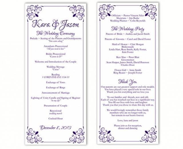 wedding program template diy editable word file instant download program purple program floral. Black Bedroom Furniture Sets. Home Design Ideas