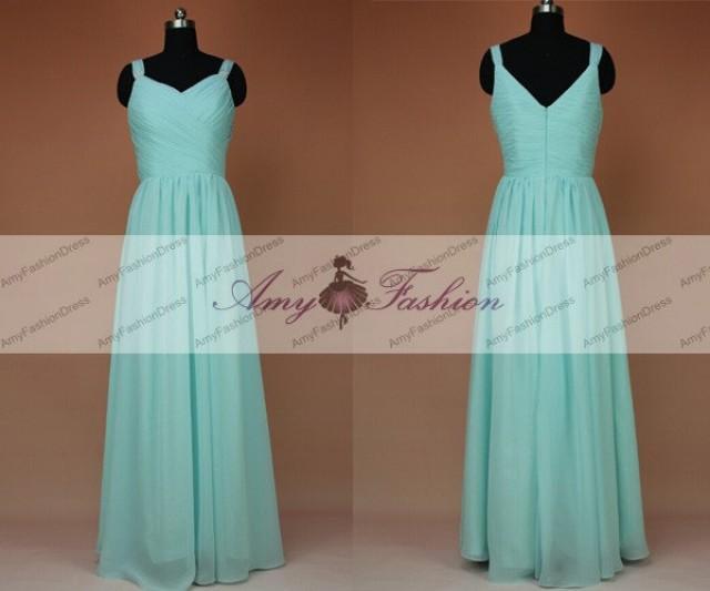 Long Mint Bridesmaid Dresses Simple Custom Flowy Prom