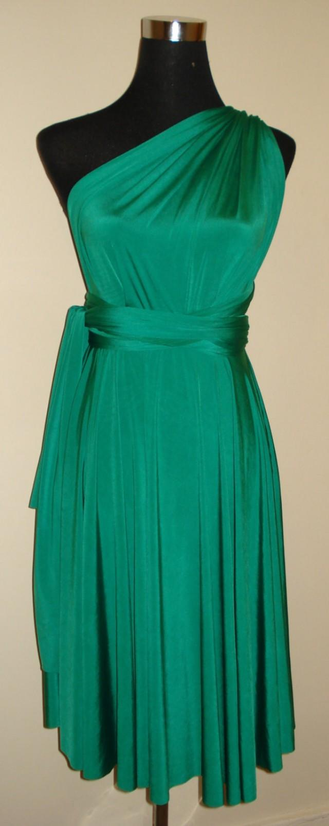 Emerald Green Knee Length Infinity Dress Bridesmaid Wedding Dress ...