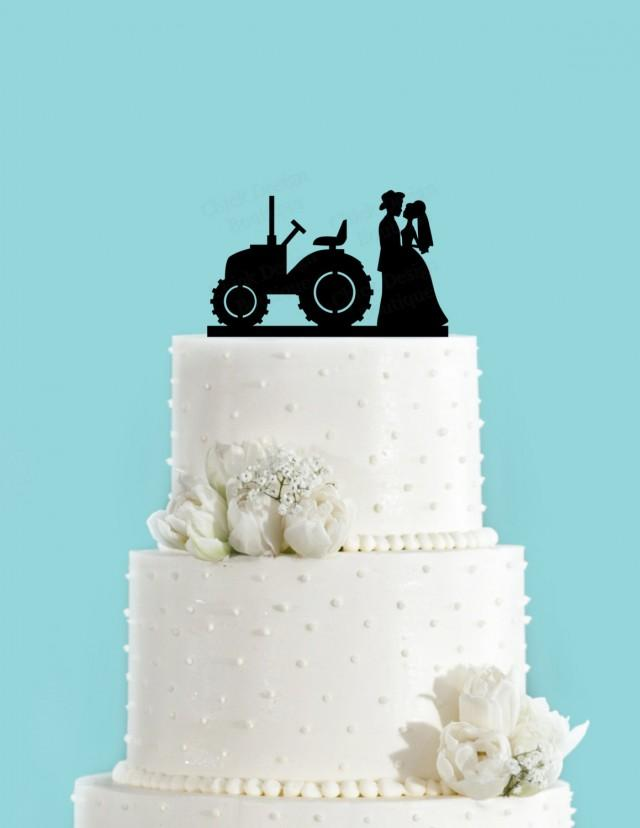 Country Wedding Couple And Tractor Couple In Love Acrylic Wedding Cake Topper 2572883