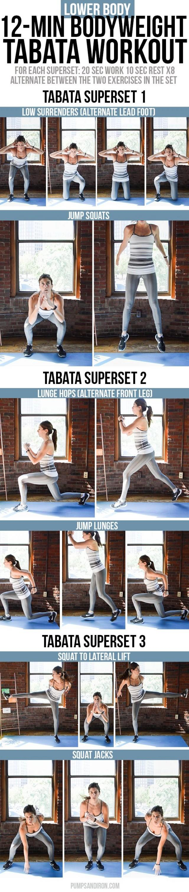 12-Minute Bodyweight Tabata Workout Series: Lower Body (Legs & Glutes)
