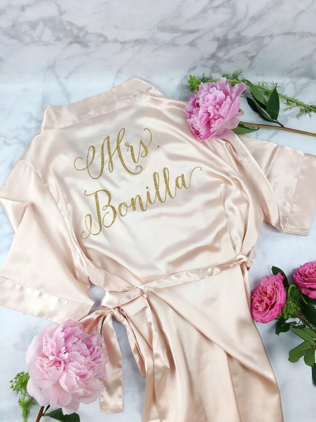 Bride Robe - Wedding Day Robe - Glitter Bridal Robe - Bride Satin - Bridal Lingerie Shower Gift ...