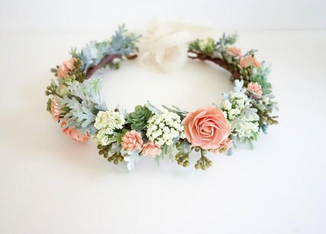 wedding photo - Flower Crown, Peach Flower Crown, Boho Headdress, Bridal Crown, Peach Wedding, Floral Head Wreath, Boho Wedding, Coral Wedding, SORBET FULL
