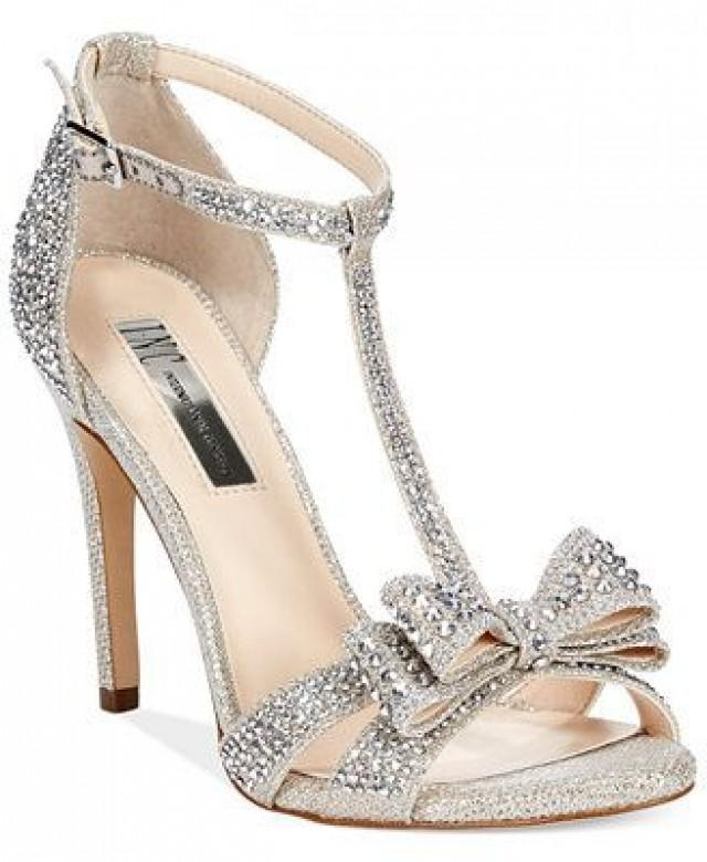 wedding photo - Reesie Rhinestone Bow Evening Sandals