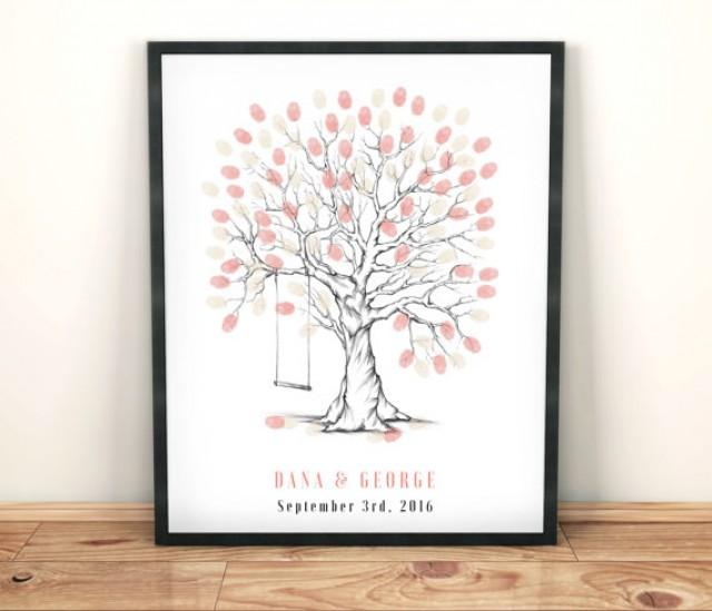 Whimsical Wedding Fingerprint Tree Guestbook Printable File Thumbprint Guest Book Personalized Keepsake Fun Unique Draw