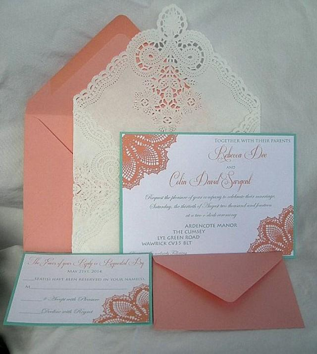 Aqua And Coral Beach Wedding Invitations