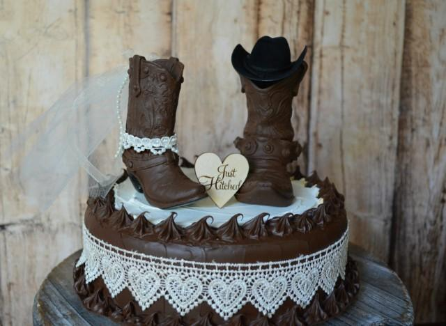Cowboy Boot Wedding Cake Topper Just Hitched Sign Country