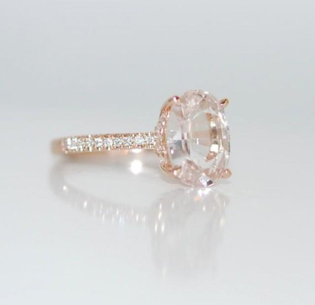 Blake Lively Ring White Sapphire Engagement Ring Oval Cut 14k Rose Gold Diamo