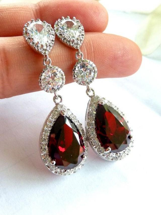 wedding bridal earrings large halo dark red garnet peardrop cubic zirconia round cz drop. Black Bedroom Furniture Sets. Home Design Ideas