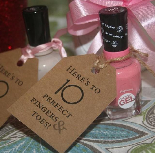 Baby Shower Favors, Baby Shower Tags, Nail Polish Tags, 35