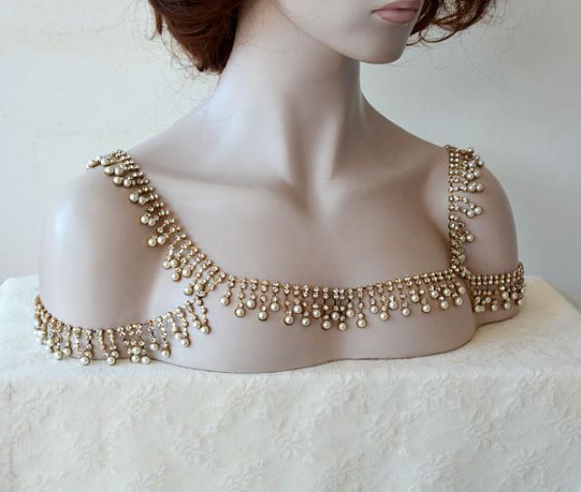 Wedding Gold Rhinestone Jewelry, Wedding Dress Shoulder ...