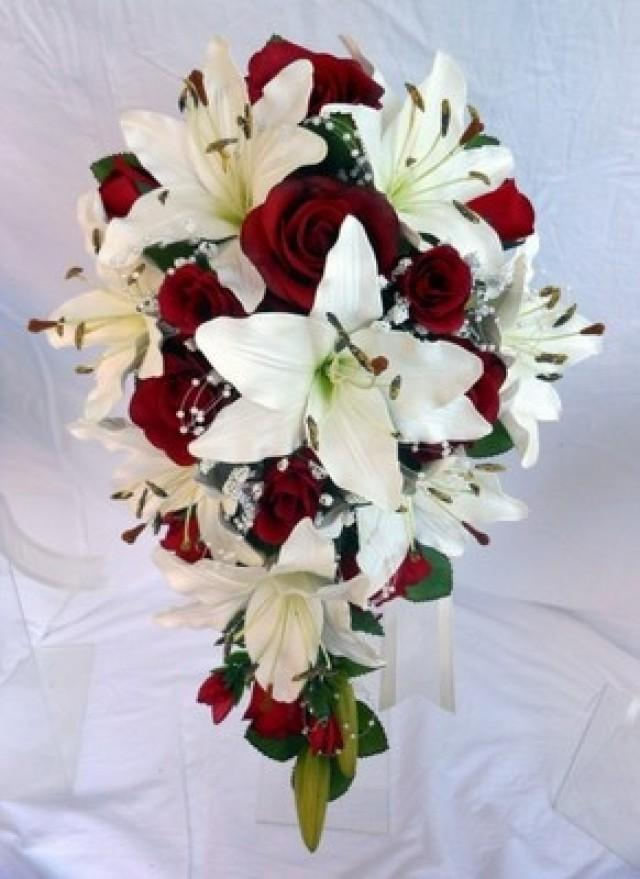 wedding photo - Teardrop Wedding Bouquet, Ivory Lillies, Burgundy Roses, Pearl Loops
