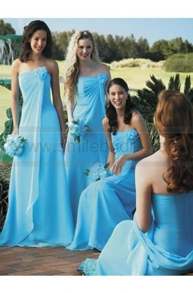 wedding photo - Strapless Formal Flower Trimed Floor_length Bridesmaid Dress - Parent-Child Bridesmaid Dresses New - Bridesmaid Dresses