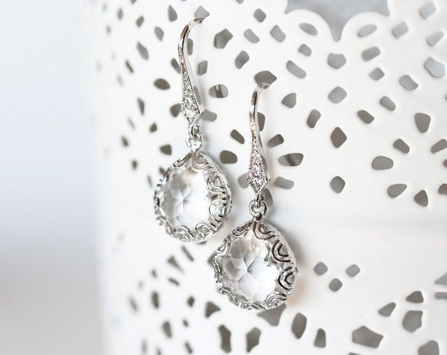 wedding photo - White crystal earrings, Silver CZ earrings, Crystal Earrings, Crystal earrings glass, Clear Crystal Earrings, Drop earrings, Teardrop