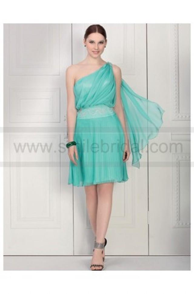 wedding photo - One Shoulder Beaded Knee Length Satin Chiffon light uk senior prom dress - Summer Dresses - Party Dresses