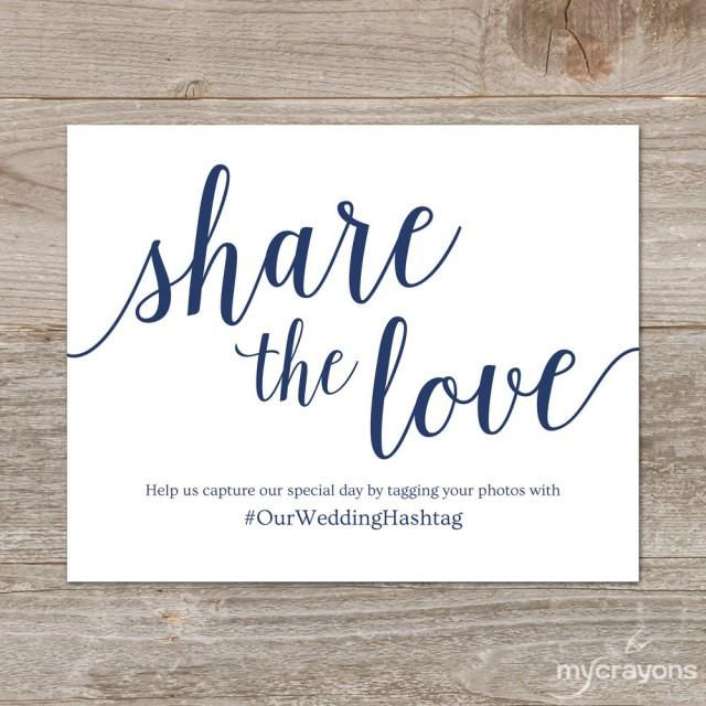 Wedding hashtag sign printable share the love sign navy wedding decor instant download for Wedding signs printable