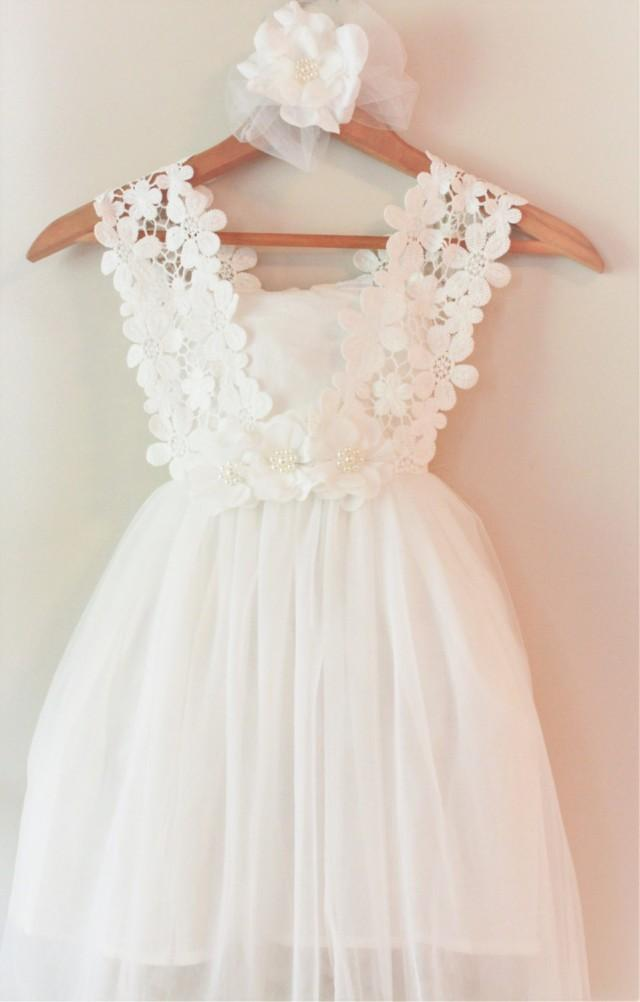 white flower girl dress white lace flower girl dress couture flower girl dress birthday girls. Black Bedroom Furniture Sets. Home Design Ideas