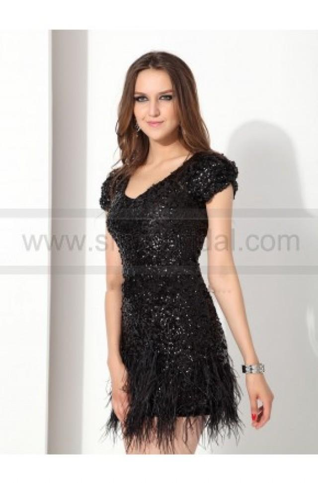 wedding photo - Scoop Sequin Cap Sleeves Mini Black Cocktail Gowns - 2016 New Cocktail Dresses - Party Dresses