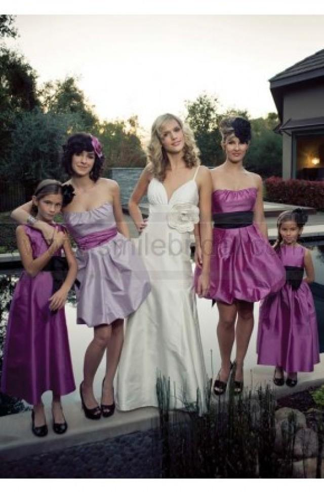 wedding photo - Draped Color Sash Mini Length Bridesmaid Gowns