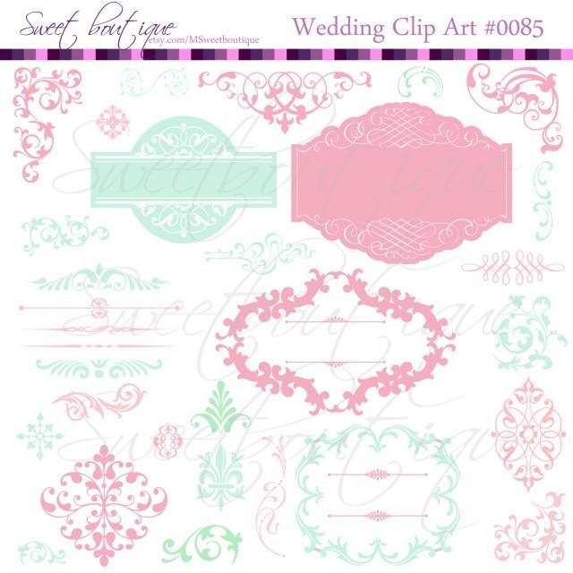 Mint & Rose Wedding Digital Frames Clip Art Clipart ...