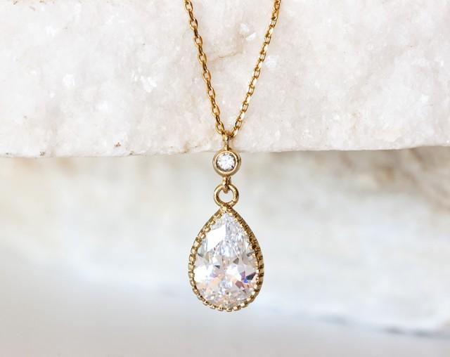 wedding photo - Gold teardrop necklace, Wedding crystal necklace, CZ crystal necklace, Pendant necklace, Bridal gold jewelry, Crystal bridal necklace.