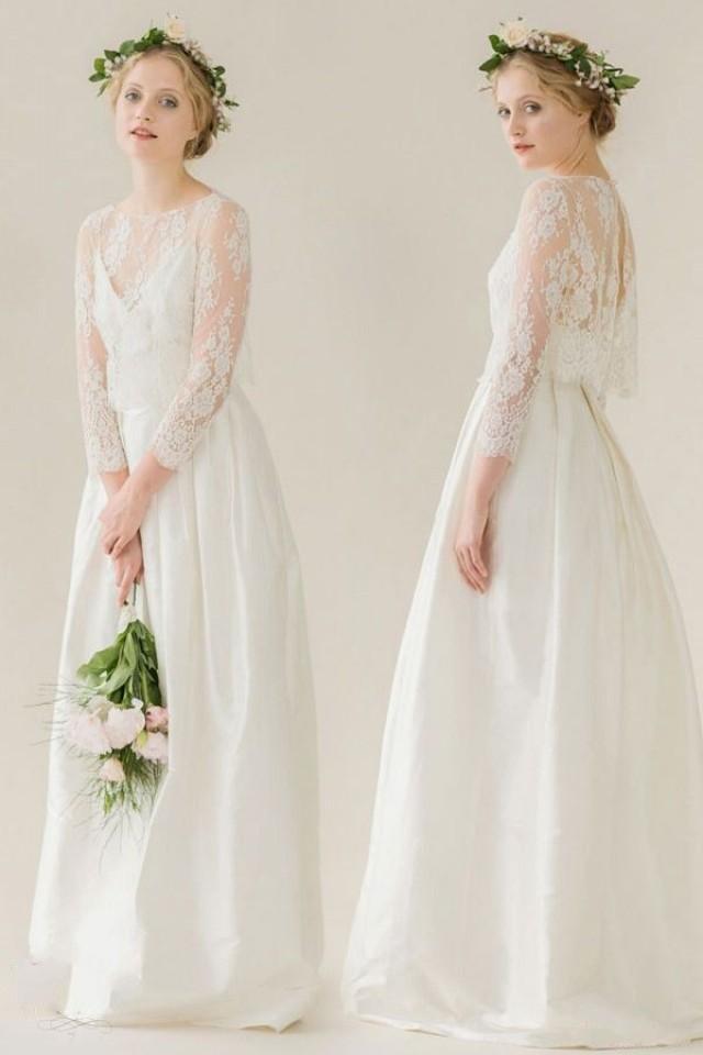 Two pieces bridesmaid dresses three quarter sleeve a line for Lace three quarter sleeve wedding dress