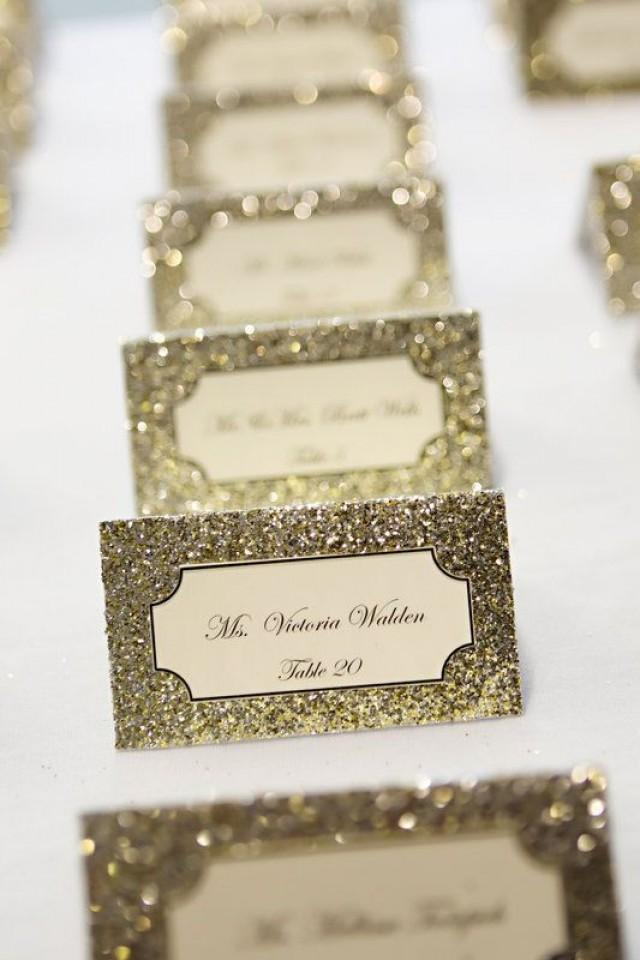 Glitter wedding invitation exquisite cards with for Personalized wedding place cards