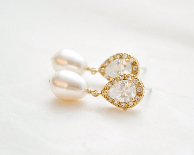wedding photo - Gold Bridal Earrings, Gold Wedding Earrings, Gold Pearl and CZ Earrings, Gold Wedding Jewellery