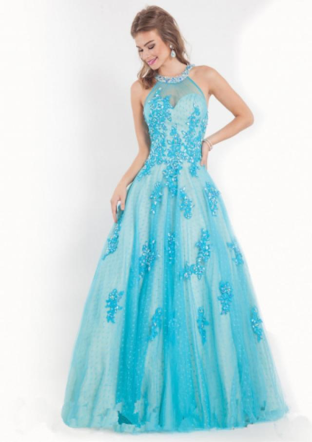 wedding photo - Sleeveless Appliques Crystals Tulle Blue Fuchsia Halter Floor Length