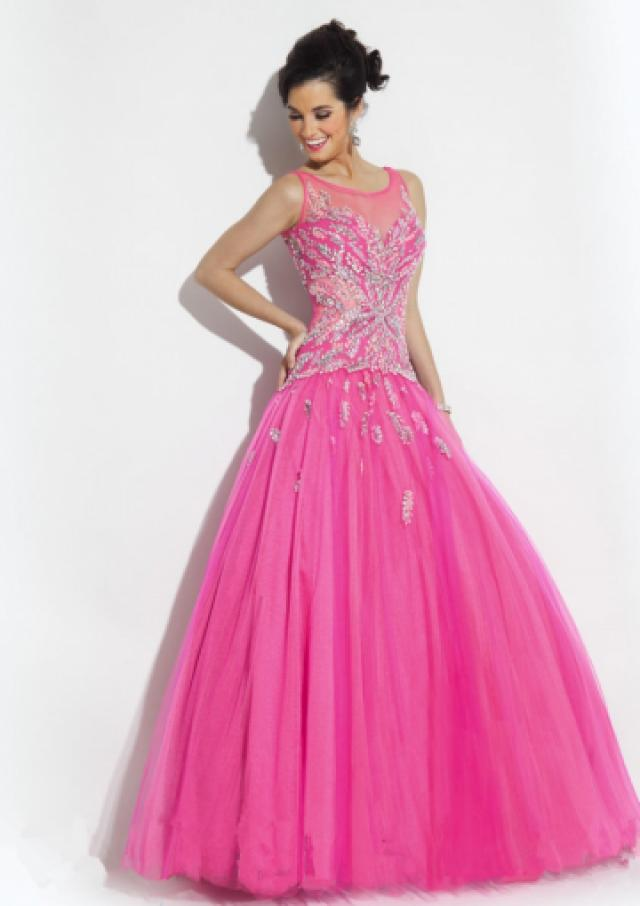 wedding photo - Scoop Crystals Green Fuchsia Tulle Sleeveless Floor Length Ball Gown