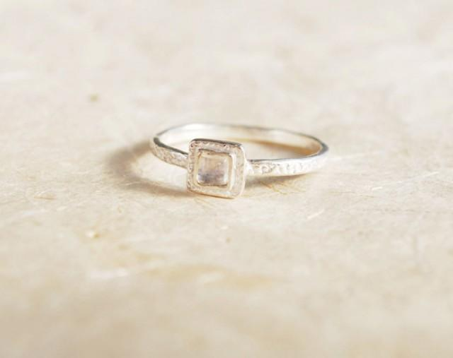 wedding photo - Promise Ring - Sterling Silver and Moonstone ring, Square Moonstone ring, Dainty Silver ring, Square gemstone ring, Small Moonstone ring