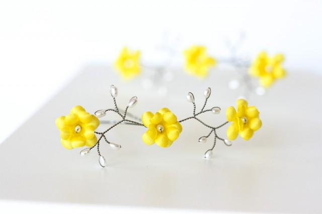 wedding photo - Yellow floral hair pins, Lemon yellow hair accessories, Flower hair accessory, Pearl silver hair pin, Yellow wedding, Flowers in hair.