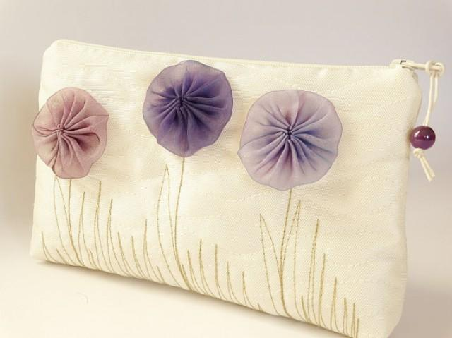 wedding photo - Flower Girl Wedding Gift Bag, Ivory Clutch with Purple Flowers, Romantic Coin Purse for Girl, Mother Daughter Handbag