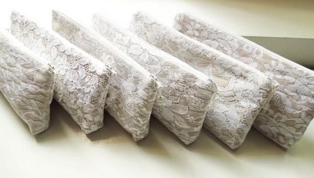 wedding photo -    Will You Be My Bridesmaid Gift Purses, Mismatched Nude Lace Wedding Clutches, Set of 6 Bridesmaids Gift Bags, Lace Wristlets for bridesmaids