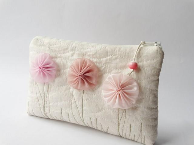 wedding photo -    , Rustic Champagne Clutch with Flowers, Romantic Coin Purse, Wedding Gift for Girl, Mother Daughter Gift Bag