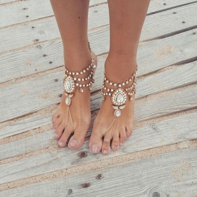 wedding photo - Beach Wedding Barefoot Sandals,Bridal Foot Jewelry,Boho Slave Anklet,Wedding Anklet,Bridesmaid Accessories,KEEVA Design