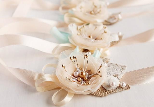 wedding photo - Bridesmaid Corsage, Bridesmaid Gift Bracelet, Bridesmaid Gift Set, Beach Wedding, Rustic Corsage, Peach Corsage, Be my Bridesmaid Gift
