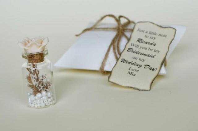 wedding photo - Bridesmaid proposal, Will you be my bridesmaid, Message in a bottle, Bridesmaid invitation, Personalized bridesmaid gift, Ivory, Cream