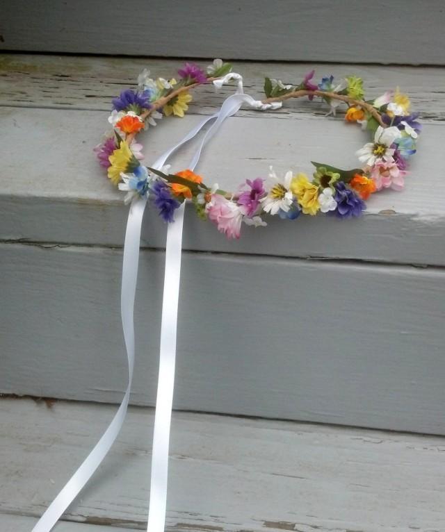 rainbow flower crown hair wreath bridal boho halo wedding headpiece accessories beach mixed. Black Bedroom Furniture Sets. Home Design Ideas
