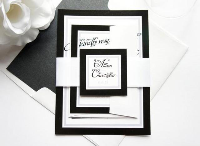 wedding photo - Black and White Wedding Invitation - SAMPLE SET