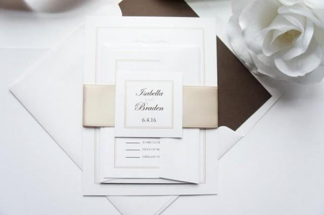 wedding photo - Champagne Wedding Invitation - SAMPLE SET