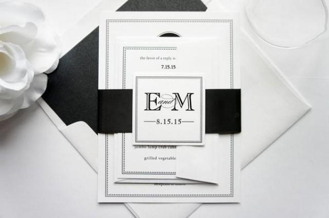 wedding photo - Circle Monogram Wedding Invitation - SAMPLE SET