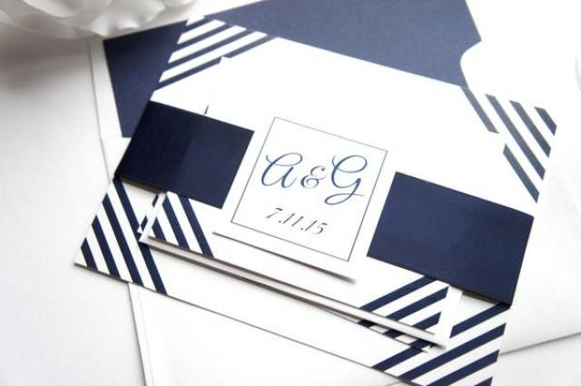 wedding photo - Classic Stripe Wedding Invitation - SAMPLE SET