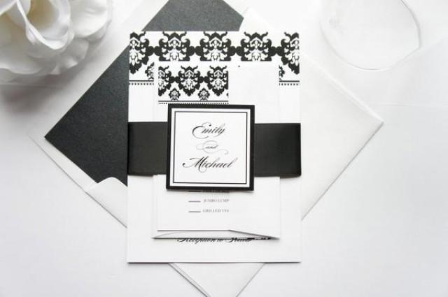 wedding photo - Damask Wedding Invitation - SAMPLE SET