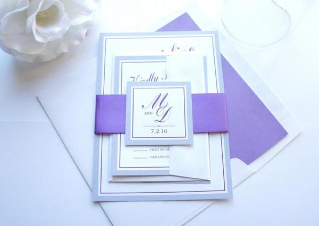 wedding photo - Grape and Gray Wedding Invitation - SAMPLE SET